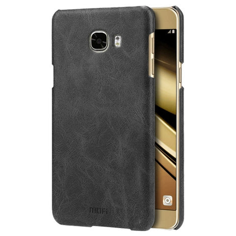 MOFI for Samsung Galaxy C7 / C700 Crazy Horse Texture Leather Surface PC Protective Case Back Cover(Black)