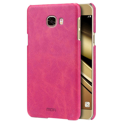MOFI for Samsung Galaxy C7 / C700 Crazy Horse Texture Leather Surface PC Protective Case Back Cover(Magenta)