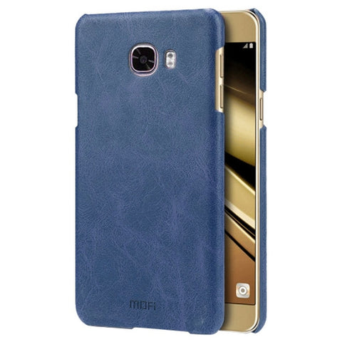 MOFI for Samsung Galaxy C5 / C500 Crazy Horse Texture Leather Surface PC Protective Case Back Cover(Dark Blue)