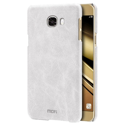 MOFI for Samsung Galaxy C5 / C500 Crazy Horse Texture Leather Surface PC Protective Case Back Cover(White)