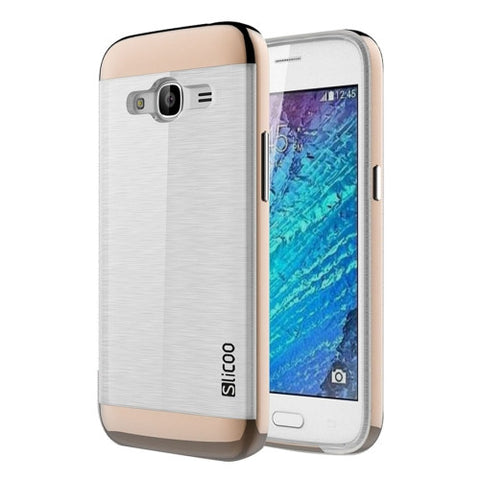 SLiCOO for Samsung Galaxy J2 (2016) / J210 Concise Fashion Separable Dichromatic Brushed Texture Transparent TPU + Electroplating PC Combination Case(Coffee)