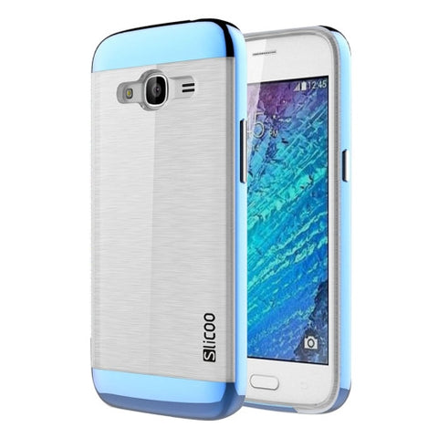 SLiCOO for Samsung Galaxy J2 (2016) / J210 Concise Fashion Separable Dichromatic Brushed Texture Transparent TPU + Electroplating PC Combination Case(Blue)