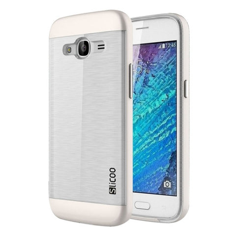 SLiCOO for Samsung Galaxy J2 (2016) / J210 Concise Fashion Separable Dichromatic Brushed Texture Transparent TPU + Electroplating PC Combination Case(White)