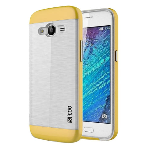 SLiCOO for Samsung Galaxy J2 (2016) / J210 Concise Fashion Separable Dichromatic Brushed Texture Transparent TPU + Electroplating PC Combination Case(Yellow)