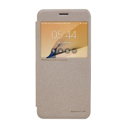 NILLKIN SPARKLE Series For Samsung Galaxy On5(2016) & J5 Prime Frosted Texture Horizontal Flip Leather Case with Call Display ID(Gold)