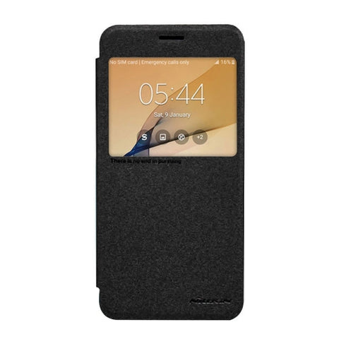 NILLKIN SPARKLE Series For Samsung Galaxy On7(2016) & J7 Prime Frosted Texture Horizontal Flip Leather Case with Call Display ID(Black)