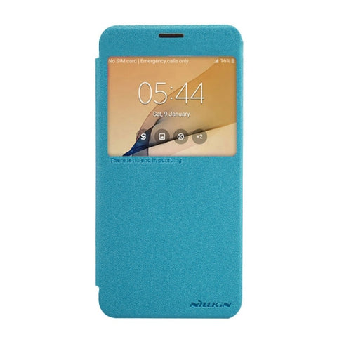 NILLKIN SPARKLE Series For Samsung Galaxy On7(2016) & J7 Prime Frosted Texture Horizontal Flip Leather Case with Call Display ID (Blue)