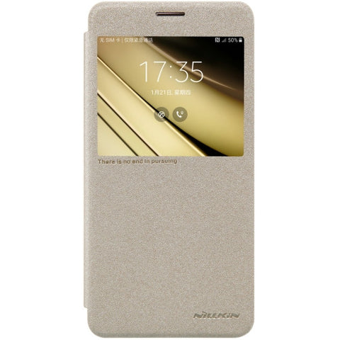NILLKIN SPARKLE Series For Samsung Galaxy C7 / C700 Frosted Texture Horizontal Flip Leather Case with Call Display ID (Gold)