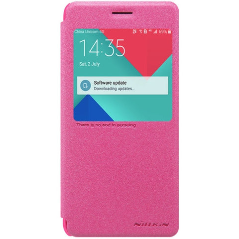 NILLKIN SPARKLE Series For Samsung Galaxy J3 Pro / J311 Frosted Texture Horizontal Flip Leather Case with Call Display ID(Magenta)