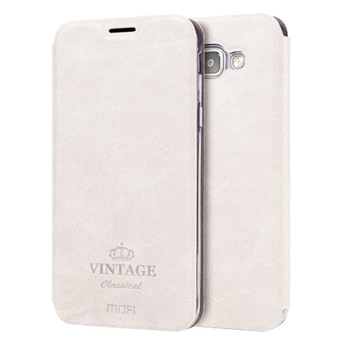 MOFI VINTAGE for Samsung Galaxy A8(2016) / A810 Crazy Horse Texture Horizontal Flip Leather Case with Card Slot & Holder (White)
