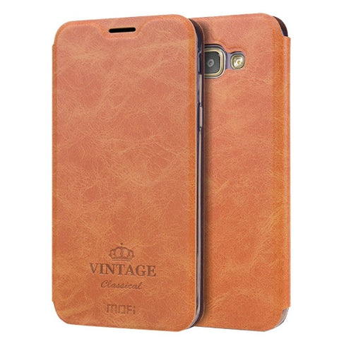 MOFI VINTAGE for Samsung Galaxy A8(2016) / A810 Crazy Horse Texture Horizontal Flip Leather Case with Card Slot & Holder (Brown)