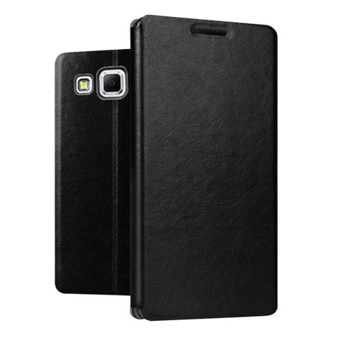 MOFI for Samsung Galaxy J7 / J700 Crazy Horse Texture Horizontal Flip Leather Case with Holder(Black)