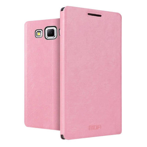 MOFI for Samsung Galaxy J7 / J700 Crazy Horse Texture Horizontal Flip Leather Case with Holder(Pink)