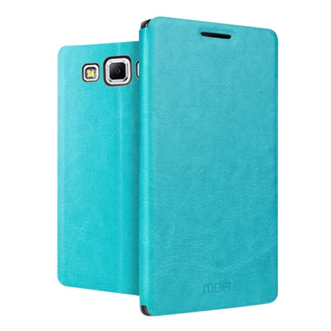 MOFI for Samsung Galaxy J7 / J700 Crazy Horse Texture Horizontal Flip Leather Case with Holder(Blue)