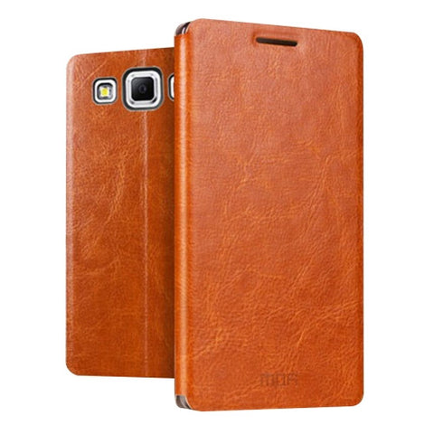 MOFI for Samsung Galaxy J7 / J700 Crazy Horse Texture Horizontal Flip Leather Case with Holder(Brown)