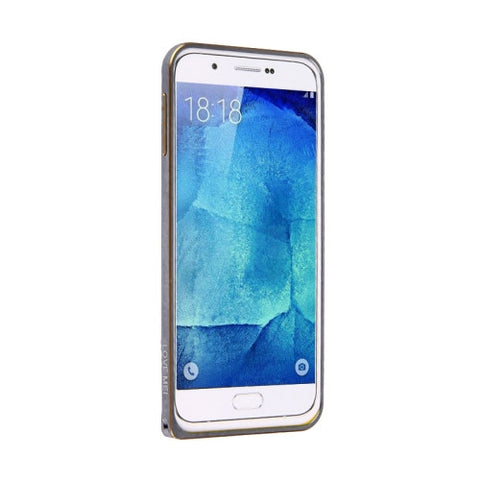 LOVE MEI for Samsung Galaxy A8 / A800 Hippocampal Buckle Metal Aluminum Bumper Frame(Grey)