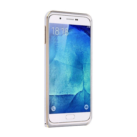 LOVE MEI for Samsung Galaxy A8 / A800 Hippocampal Buckle Metal Aluminum Bumper Frame(Silver)