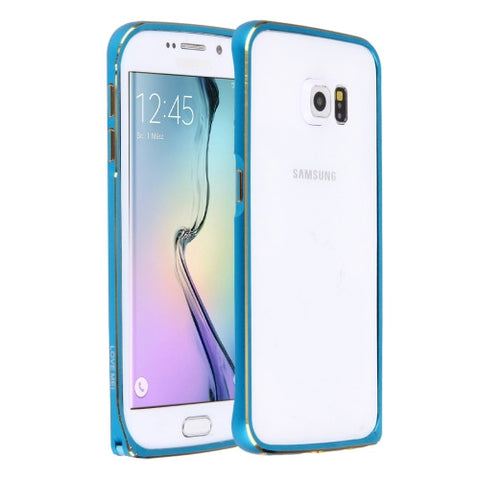 LOVE MEI for Samsung Galaxy S6 Edge / G925  Hippocampal Buckle Metal Aluminum Bumper Frame(Blue)