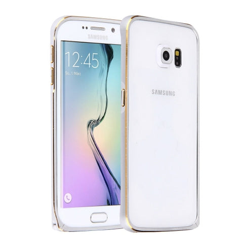 LOVE MEI for Samsung Galaxy S6 Edge / G925  Hippocampal Buckle Metal Aluminum Bumper Frame(Silver)