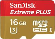 Sandisk Extreme PLUS 16GB microSDHC UHS-I/U3 Card with Adapter