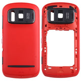 iPartsBuy for Nokia 808 PureView Middle Frame Bezel + Back Cover(Red)