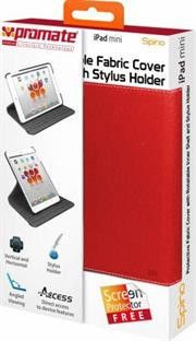 Promate Spino Protective Fabric Cover with Rotatable Inner Shell and Stylus Holder for iPad mini-Red