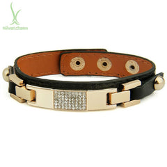 Genuine Leather 14k Gold Plated Alloy ID Bracelet With Crystal for Women and Men