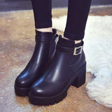 Trendy Black Solid PU Boots