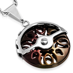Stainless Steel 2-tone Geometric Cut-out Spinning Circle Pendant (comes with a free chain)
