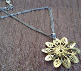Gold Plated Flower Pendant with Necklace in 925 Sterling Silver