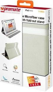 Promate Valdo Ipad mini Protective microfiber case with multilevel feature for angled book style viewing or typing and with fold-out stand and premium screen protector- Colour:Cream