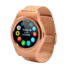 K8 1.3 inch IPS Capacitive Touch Screen 2G Calling Bluetooth 4.0 Metal Strap Smart Watch Support Heart Rate Detection / Pedometer / Music Player / Sleep Monitoring / Remote Capture / Anti-lost Function / TF Card for Both iOS and Android OS(Gold)