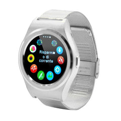 K8 1.3 inch IPS Capacitive Touch Screen 2G Calling Bluetooth 4.0 Metal Strap Smart Watch Support Heart Rate Detection / Pedometer / Music Player / Sleep Monitoring / Remote Capture / Anti-lost Function / TF Card for Both iOS and Android OS(Silver)