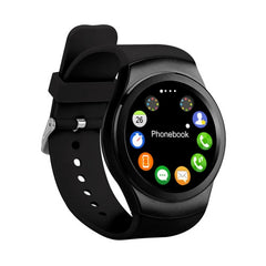 K8 1.3 inch IPS Capacitive Touch Screen 2G Calling Bluetooth 4.0 Silicone Strap Smart Watch Support Heart Rate Detection / Pedometer / Music Player / Sleep Monitoring / Remote Capture / Anti-lost Function / TF Card for Both iOS and Android OS(Black)