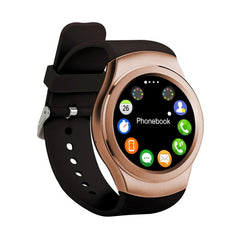 K8 1.3 inch IPS Capacitive Touch Screen 2G Calling Bluetooth 4.0 Silicone Strap Smart Watch Support Heart Rate Detection / Pedometer / Music Player / Sleep Monitoring / Remote Capture / Anti-lost Function / TF Card for Both iOS and Android OS(Gold)