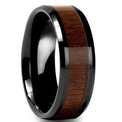 Men's Black Tungsten Carbide Ring with Wood Inlay - US 12