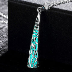 925 Sterling Silver Filled Glow in the dark pendant filigree drop design