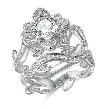 Lotus Flower 2 Piece Wedding and Engagement Ring with Immigration Diamonds