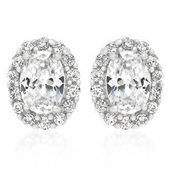 1.64ctw Cubic Zirconia Silver Costume Stud Earrings