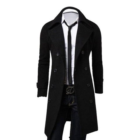 Fashion Trench Coat Winter Long Jacket Double Breasted Overcoat