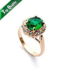 Green Crystal 18K Gold Plated Ring Jewelry Made with Genuine Swarovski Elements