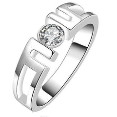 925 Sterling Silver filled Ladies symmetrical design ring with 1ct crystal center