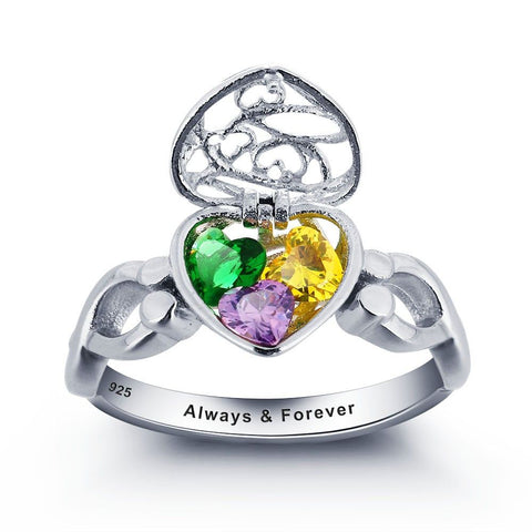 Personalized Caged 3 Heart Stone Ring with Engraving & Choice of Stone Colour
