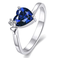 Ladies heart design ring tanzanite color platinum plated