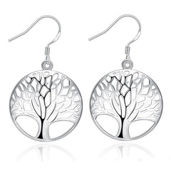 925 Sterling Silver filled Tree of life design earrings