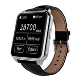 F2 Waterproof Smartwatch with Leather Brand (Silver + Black) - Zasttra.com - 2