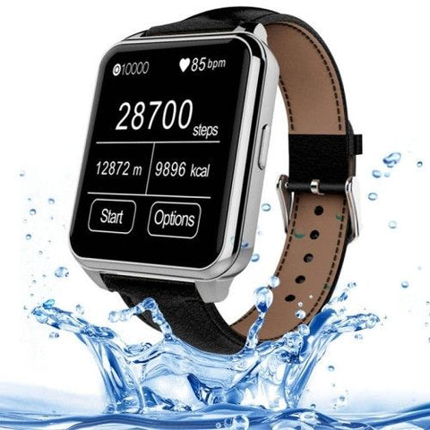 F2 Waterproof Smartwatch with Leather Brand (Silver + Black)