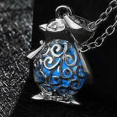 925 Sterling Silver Filled Glow in the dark pendant Penguin design