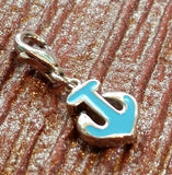 Blue Enamel Anchor Charm in 925 Sterling Silver