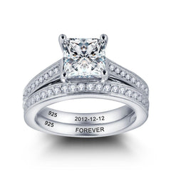 Intricate Detailing Princess Wedding Twin Ring Set Engraved with Names/Dates
